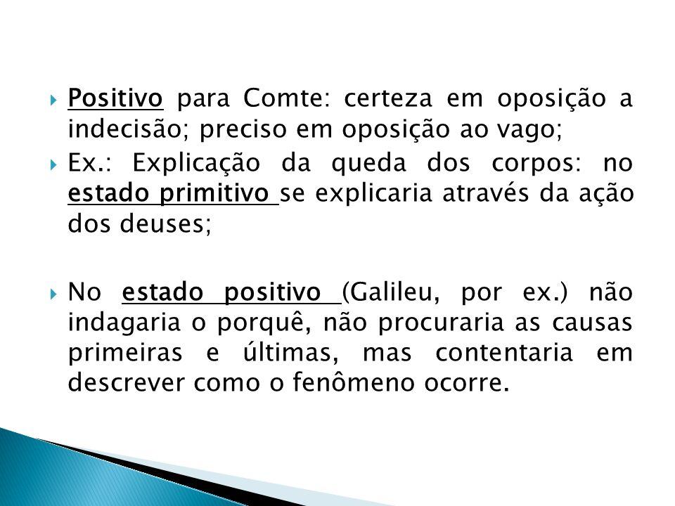 Positivo para Comte: certeza em oposição a indecisão; preciso em oposição ao vago;