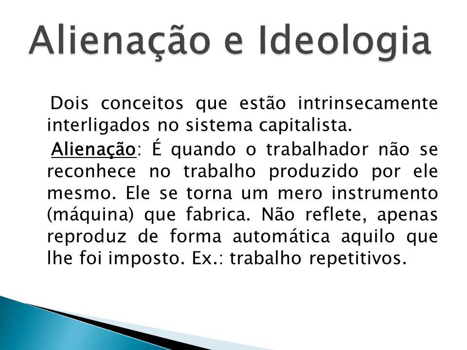 Alienação e Ideologia Dois conceitos que estão intrinsecamente interligados no sistema capitalista.