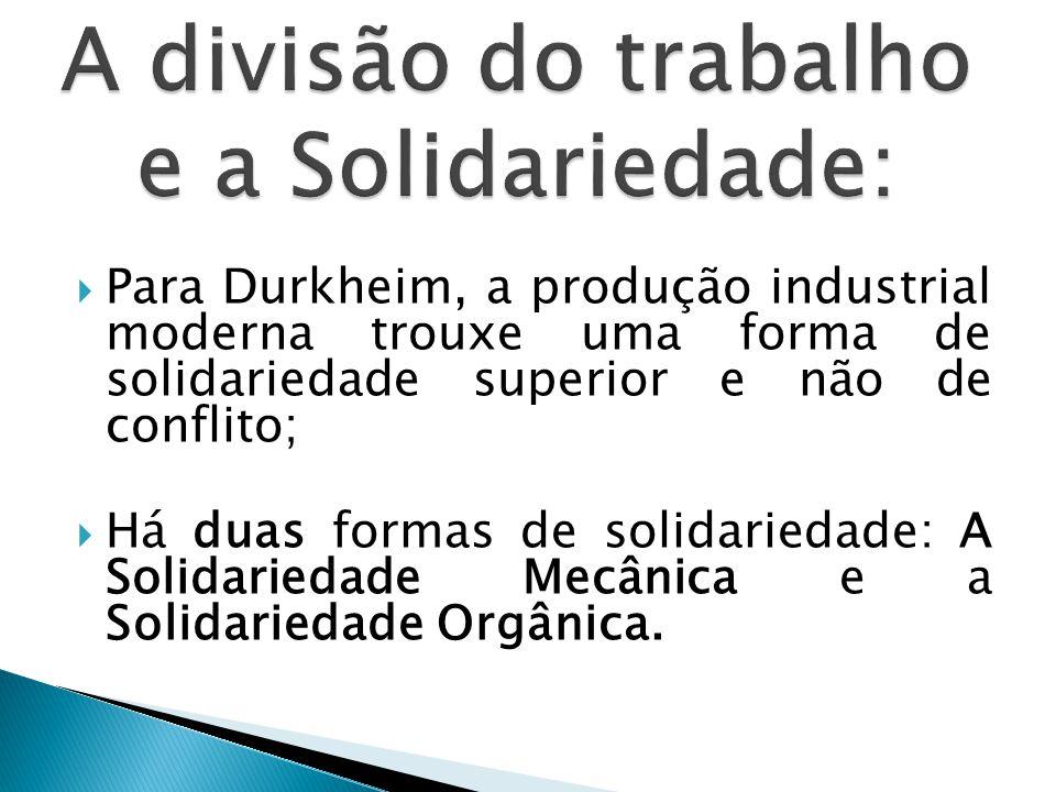 A divisão do trabalho e a Solidariedade: