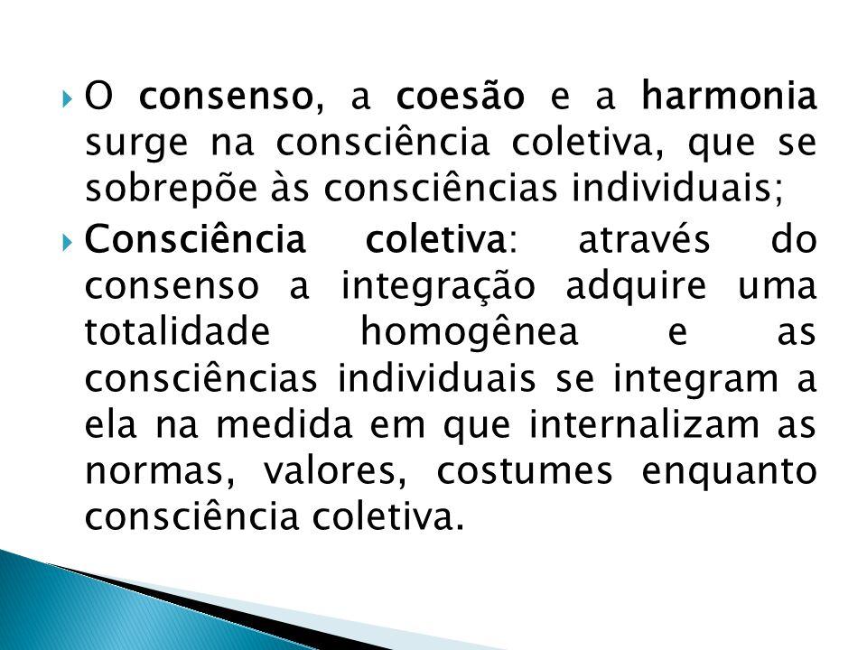 O consenso, a coesão e a harmonia surge na consciência coletiva, que se sobrepõe às consciências individuais;