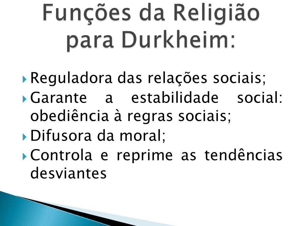 Funções da Religião para Durkheim: