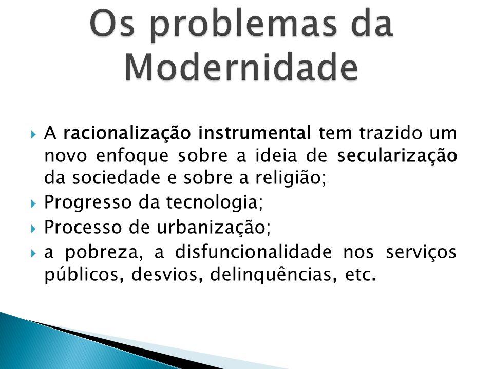 Os problemas da Modernidade