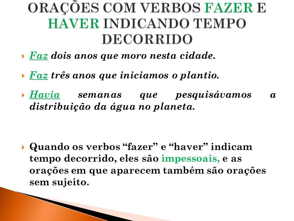 ORAÇÕES COM VERBOS FAZER E HAVER INDICANDO TEMPO DECORRIDO