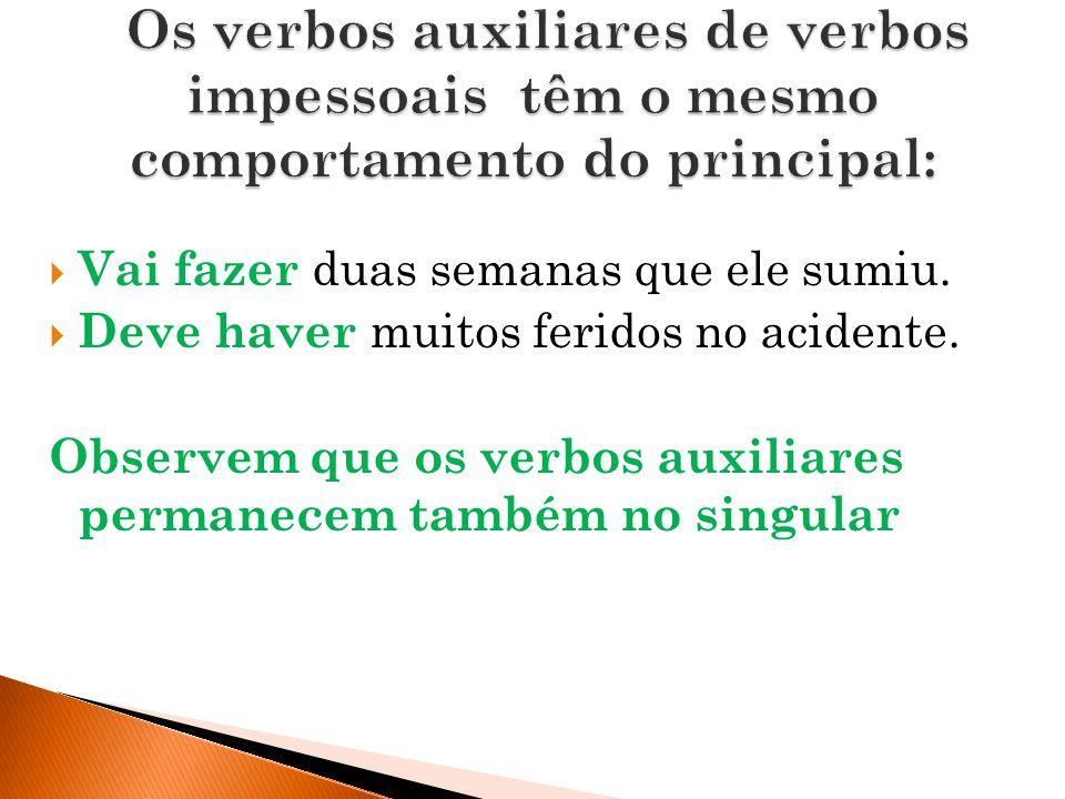 Os verbos auxiliares de verbos impessoais têm o mesmo comportamento do principal: