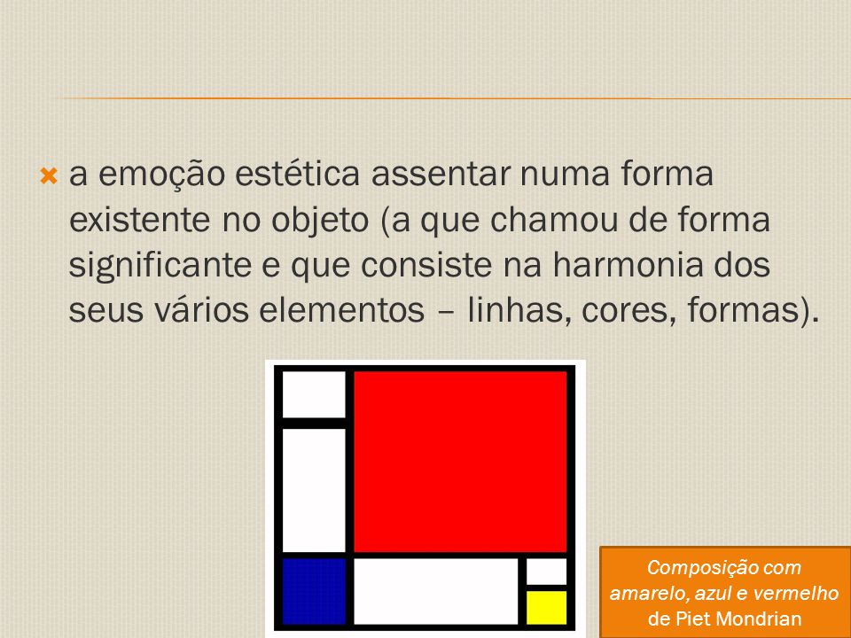 Composição com amarelo, azul e vermelho de Piet Mondrian