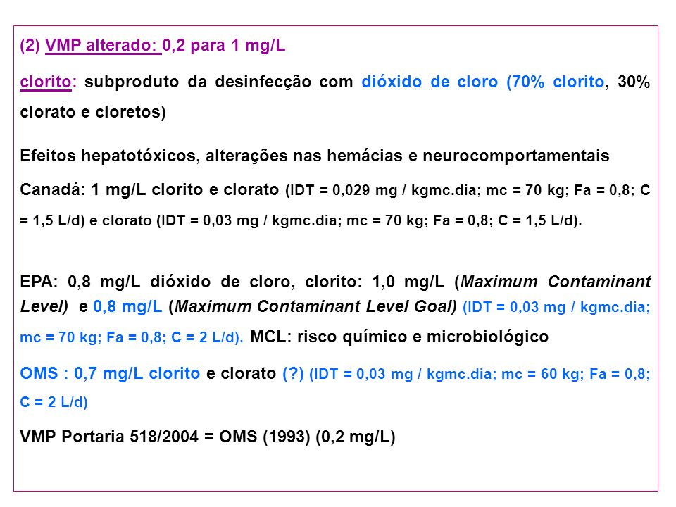 (2) VMP alterado: 0,2 para 1 mg/L