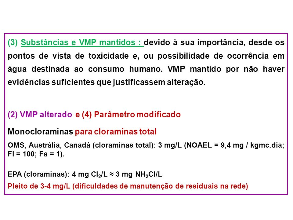 (2) VMP alterado e (4) Parâmetro modificado