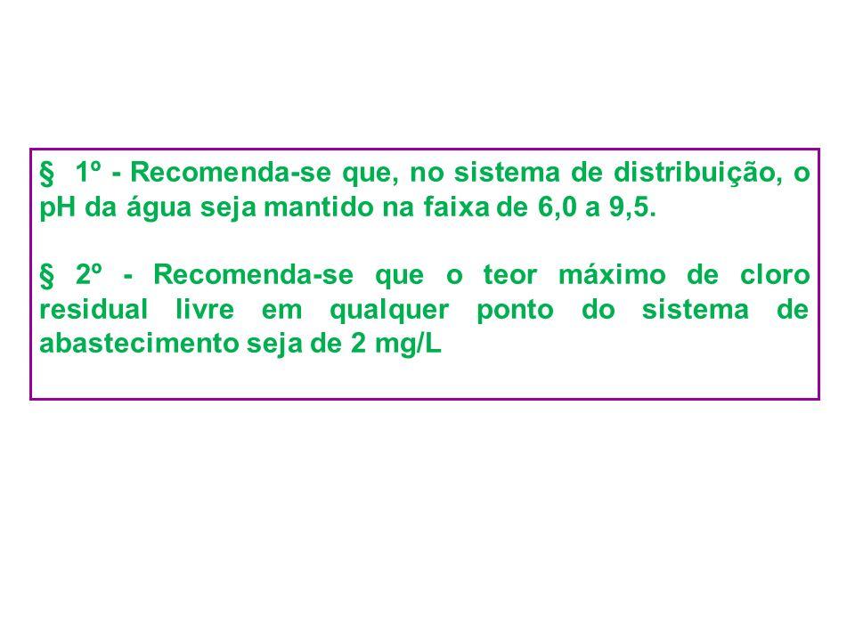 § 1º - Recomenda-se que, no sistema de distribuição, o pH da água seja mantido na faixa de 6,0 a 9,5.