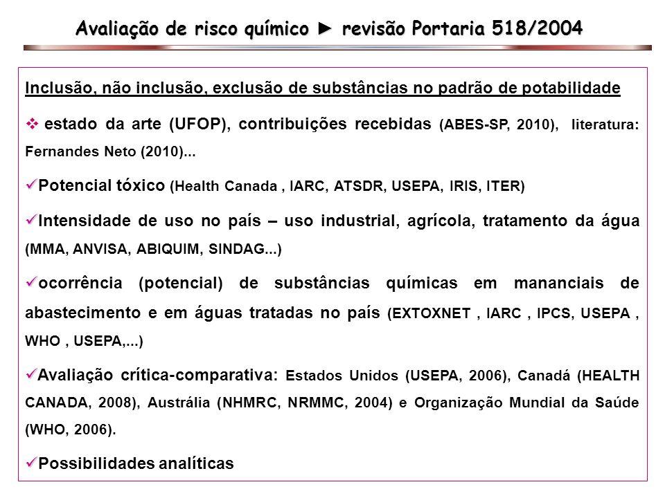 Avaliação de risco químico ► revisão Portaria 518/2004