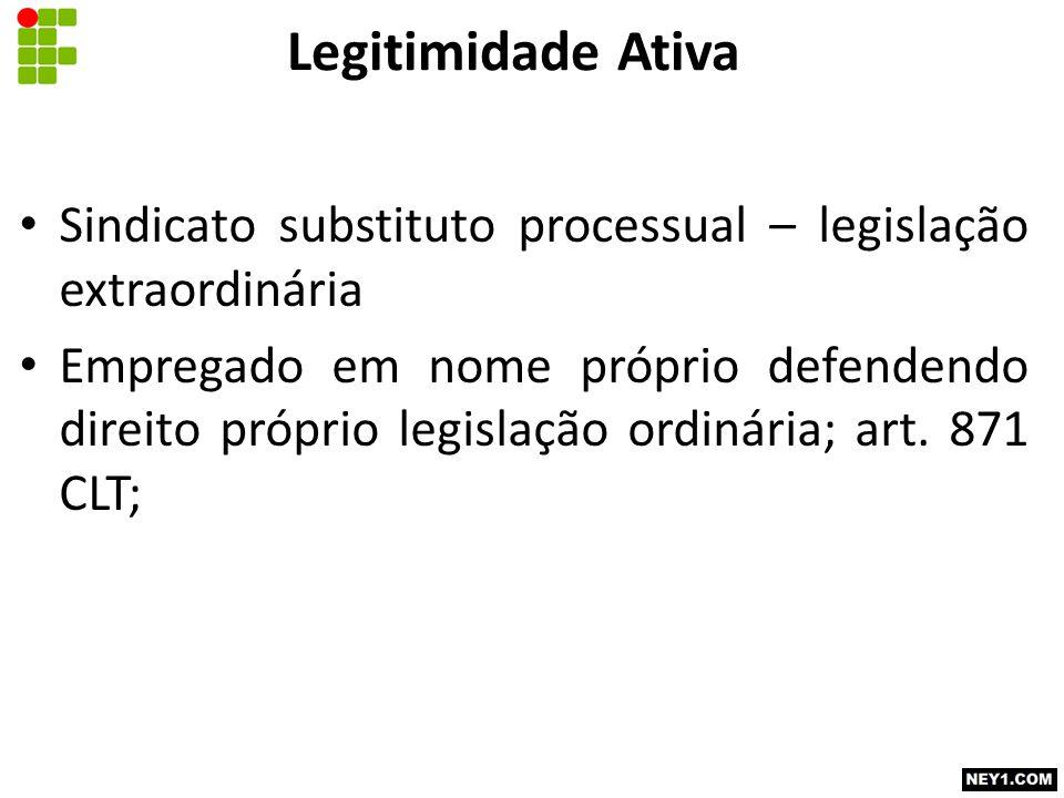 Legitimidade Ativa Sindicato substituto processual – legislação extraordinária.
