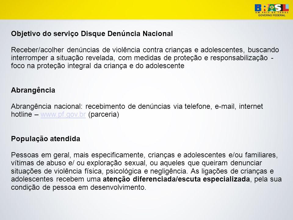Objetivo do serviço Disque Denúncia Nacional
