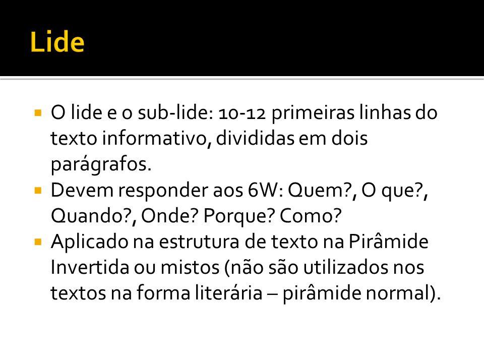 Lide O lide e o sub-lide: 10-12 primeiras linhas do texto informativo, divididas em dois parágrafos.