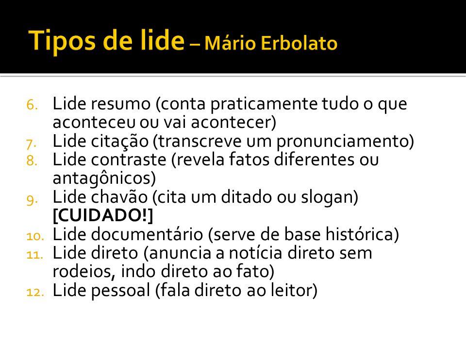 Tipos de lide – Mário Erbolato