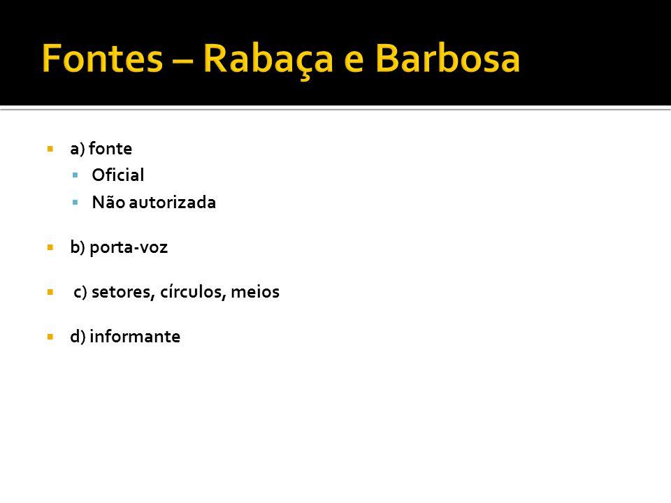 Fontes – Rabaça e Barbosa
