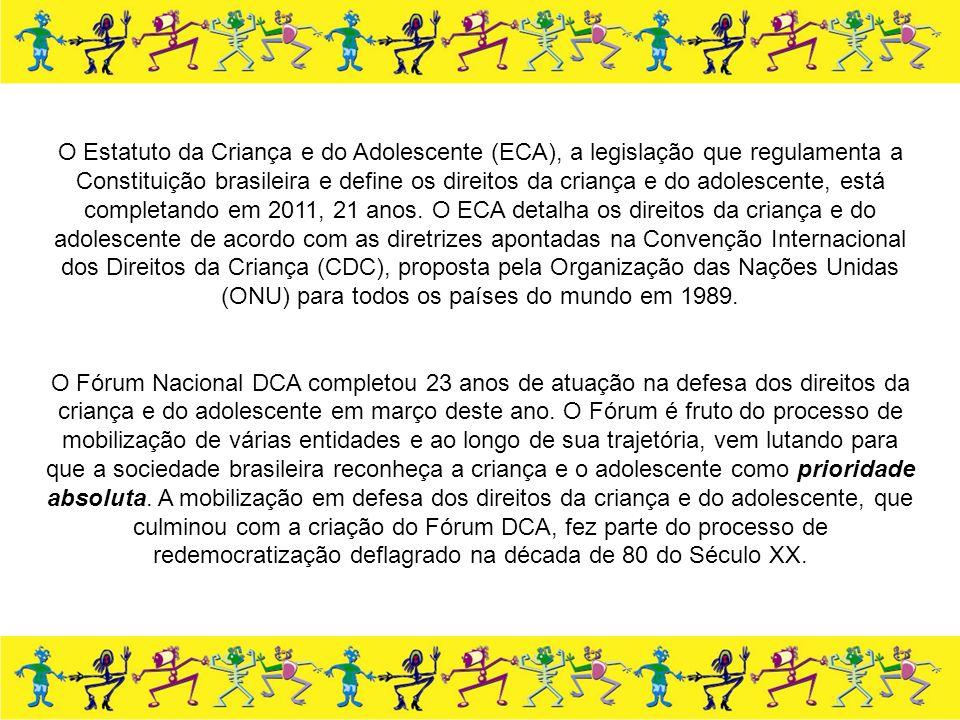 O Estatuto da Criança e do Adolescente (ECA), a legislação que regulamenta a Constituição brasileira e define os direitos da criança e do adolescente, está completando em 2011, 21 anos. O ECA detalha os direitos da criança e do adolescente de acordo com as diretrizes apontadas na Convenção Internacional dos Direitos da Criança (CDC), proposta pela Organização das Nações Unidas (ONU) para todos os países do mundo em 1989.