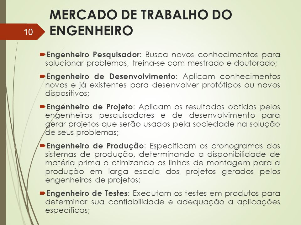 MERCADO DE TRABALHO DO ENGENHEIRO