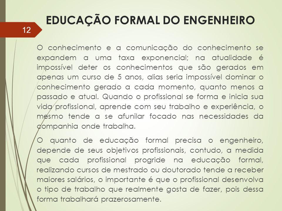 EDUCAÇÃO FORMAL DO ENGENHEIRO