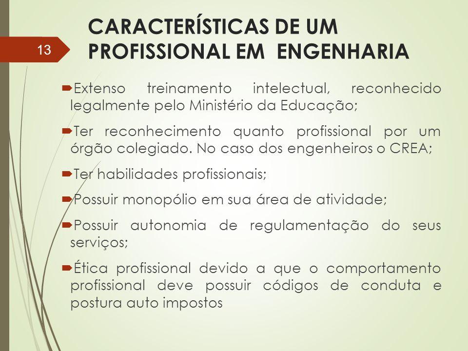 CARACTERÍSTICAS DE UM PROFISSIONAL EM ENGENHARIA