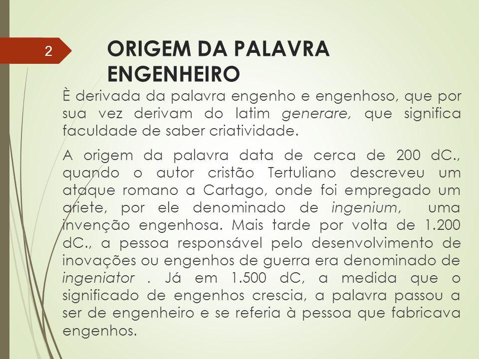 ORIGEM DA PALAVRA ENGENHEIRO