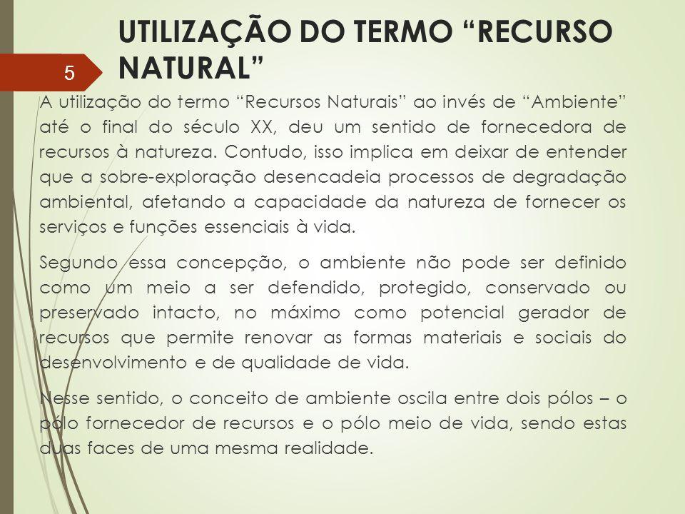 UTILIZAÇÃO DO TERMO RECURSO NATURAL