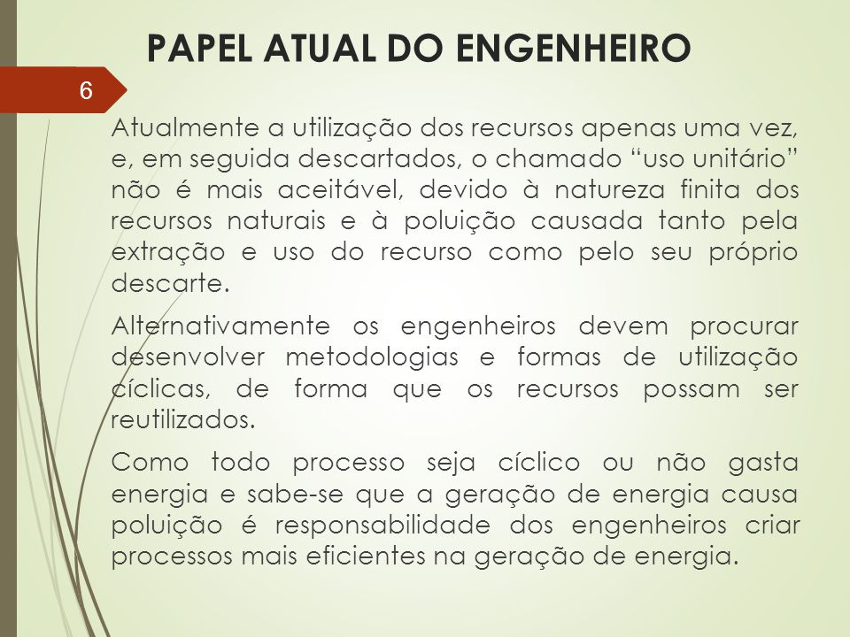 PAPEL ATUAL DO ENGENHEIRO