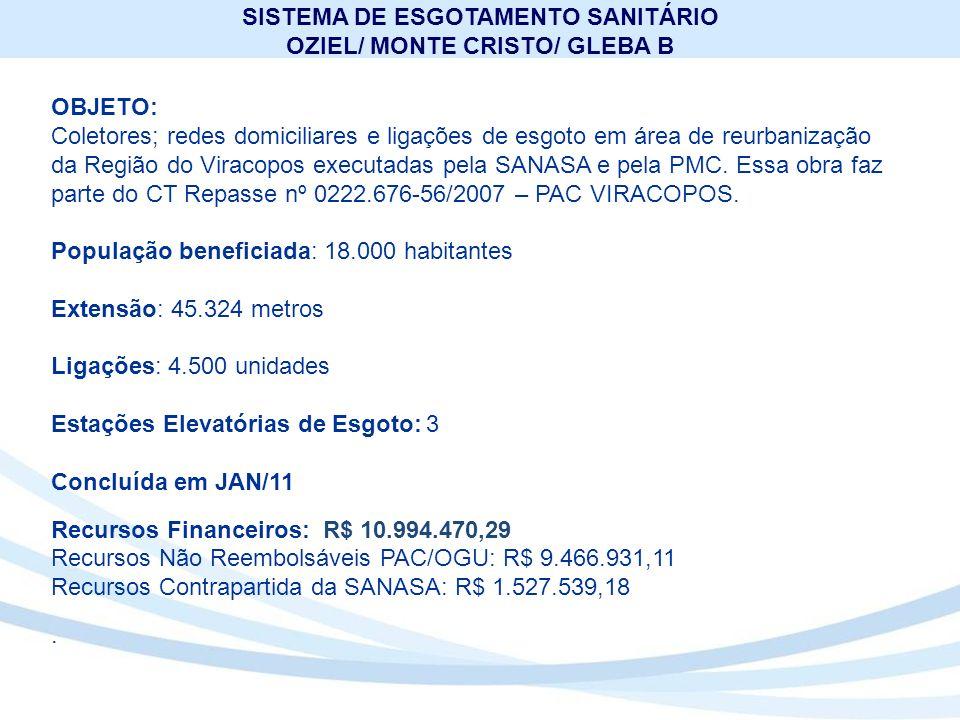 SISTEMA DE ESGOTAMENTO SANITÁRIO OZIEL/ MONTE CRISTO/ GLEBA B