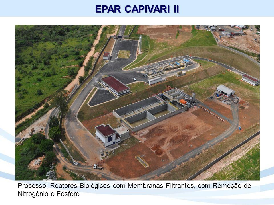 EPAR CAPIVARI II Processo: Reatores Biológicos com Membranas Filtrantes, com Remoção de Nitrogênio e Fósforo.