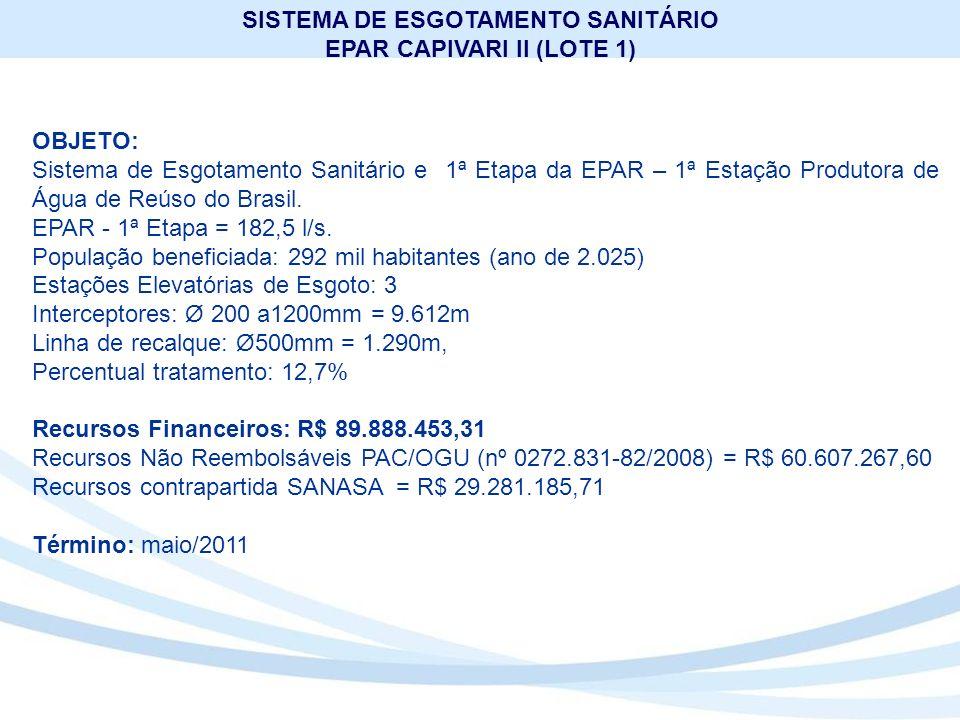SISTEMA DE ESGOTAMENTO SANITÁRIO EPAR CAPIVARI II (LOTE 1)