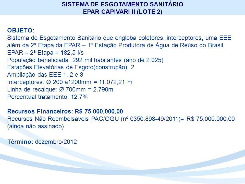 SISTEMA DE ESGOTAMENTO SANITÁRIO EPAR CAPIVARI II (LOTE 2)