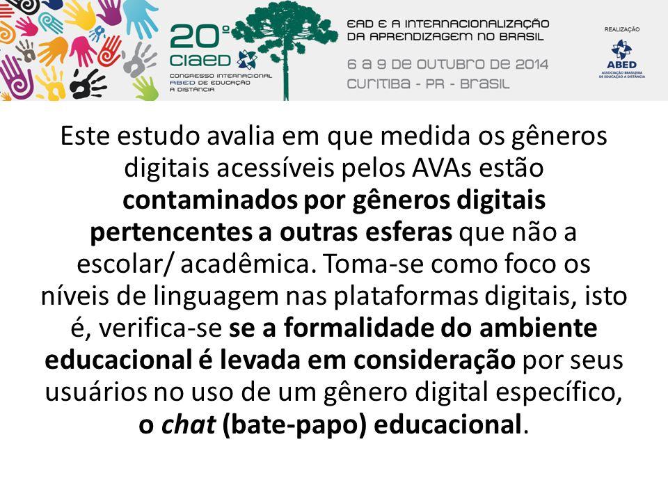 Este estudo avalia em que medida os gêneros digitais acessíveis pelos AVAs estão contaminados por gêneros digitais pertencentes a outras esferas que não a escolar/ acadêmica.