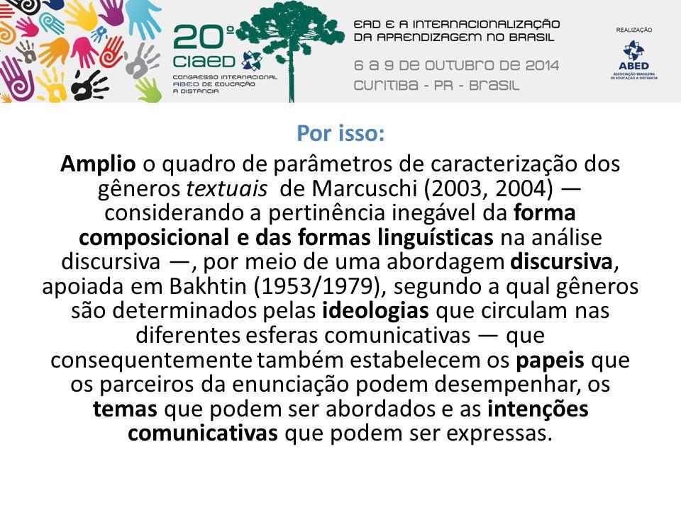 Por isso: Amplio o quadro de parâmetros de caracterização dos gêneros textuais de Marcuschi (2003, 2004) — considerando a pertinência inegável da forma composicional e das formas linguísticas na análise discursiva —, por meio de uma abordagem discursiva, apoiada em Bakhtin (1953/1979), segundo a qual gêneros são determinados pelas ideologias que circulam nas diferentes esferas comunicativas — que consequentemente também estabelecem os papeis que os parceiros da enunciação podem desempenhar, os temas que podem ser abordados e as intenções comunicativas que podem ser expressas.