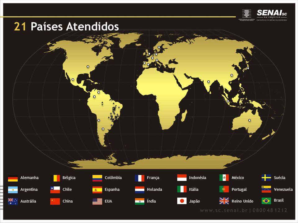 21 Países Atendidos Alemanha Bélgica Colômbia França Indonésia México