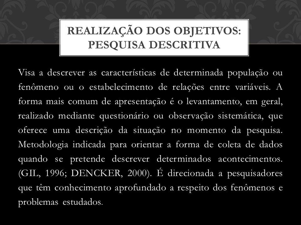 REALIZAÇÃO DOS OBJETIVOS: PESQUISA DESCRITIVA