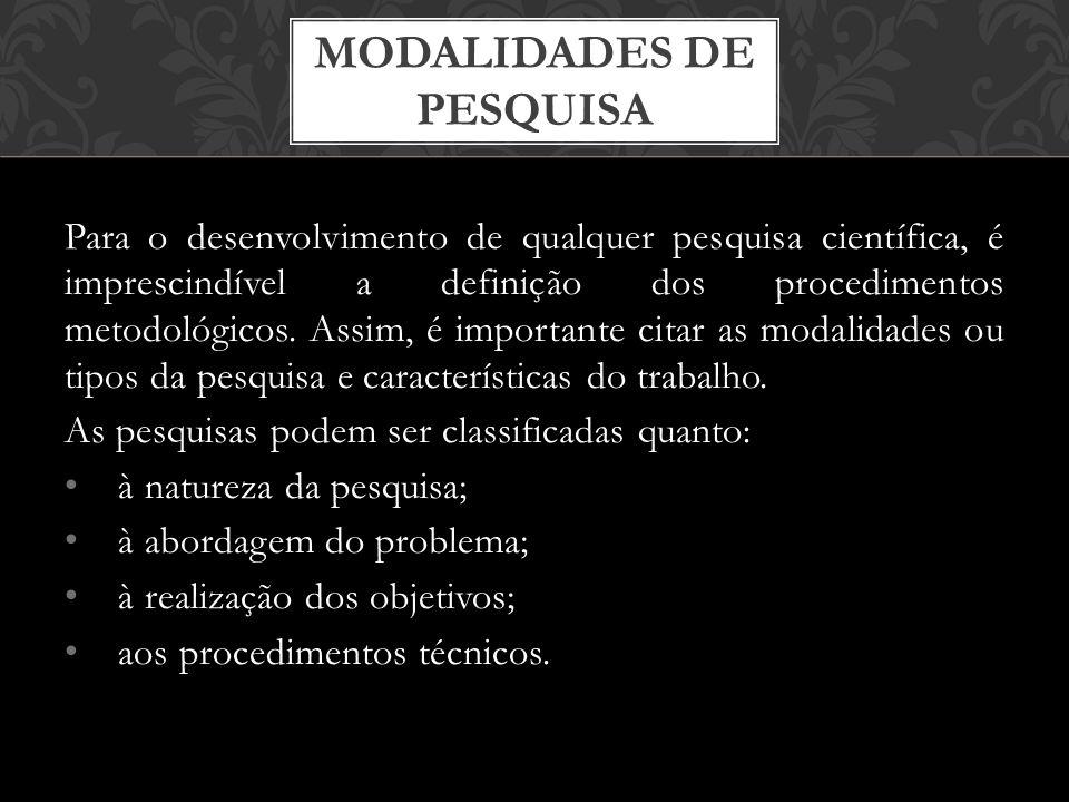 MODALIDADES DE PESQUISA