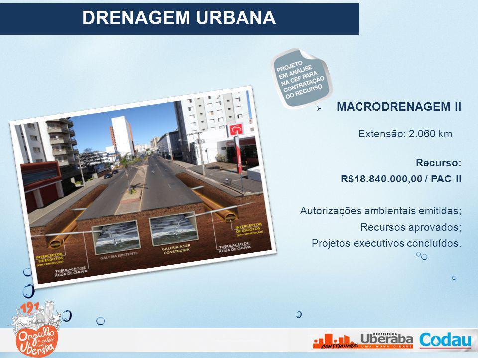DRENAGEM URBANA MACRODRENAGEM II Extensão: 2.060 km Recurso: