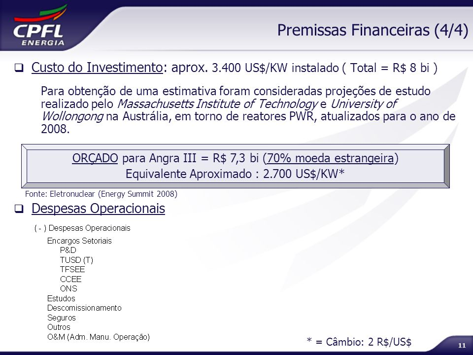 Premissas Financeiras (4/4)
