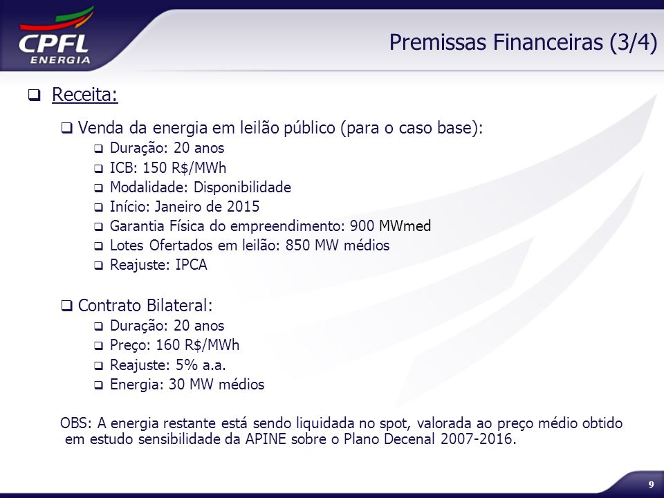 Premissas Financeiras (3/4)