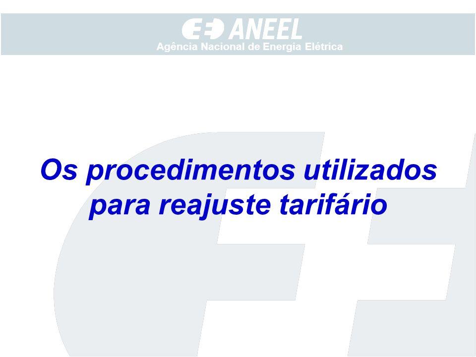 Os procedimentos utilizados para reajuste tarifário