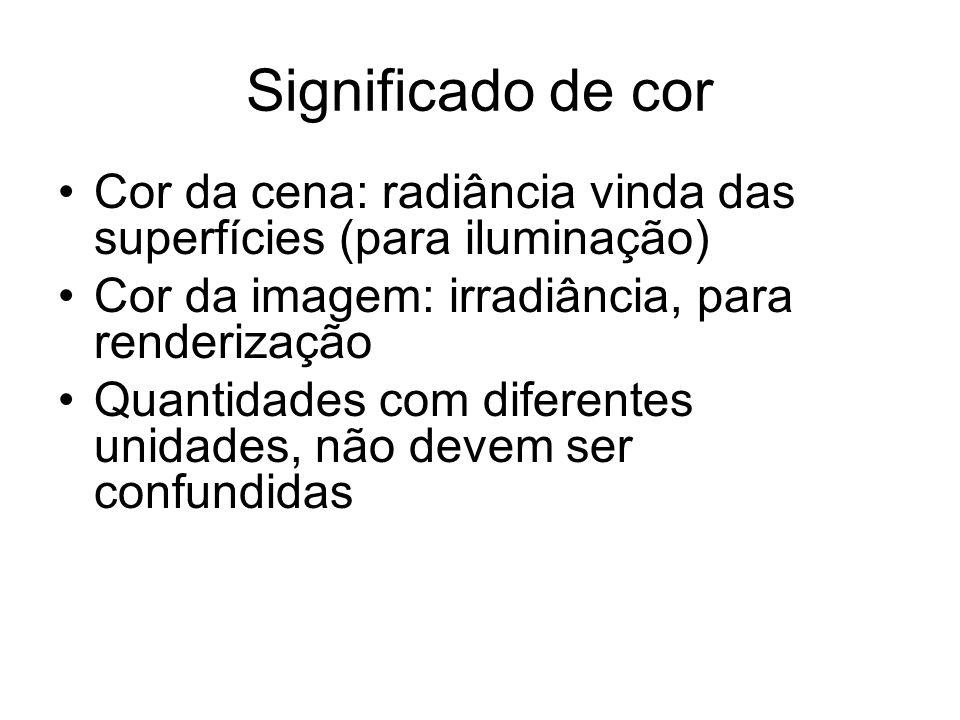 Significado de cor Cor da cena: radiância vinda das superfícies (para iluminação) Cor da imagem: irradiância, para renderização.