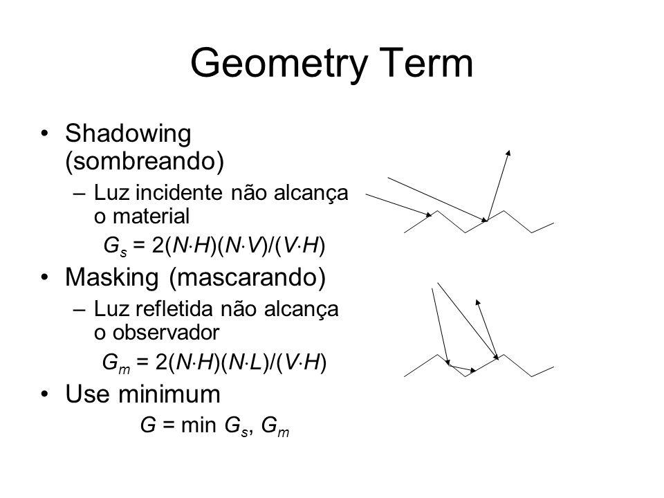 Geometry Term Shadowing (sombreando) Masking (mascarando) Use minimum