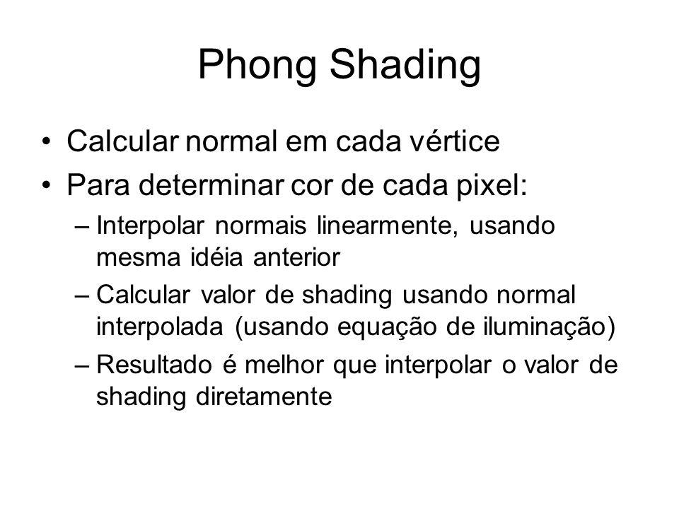 Phong Shading Calcular normal em cada vértice