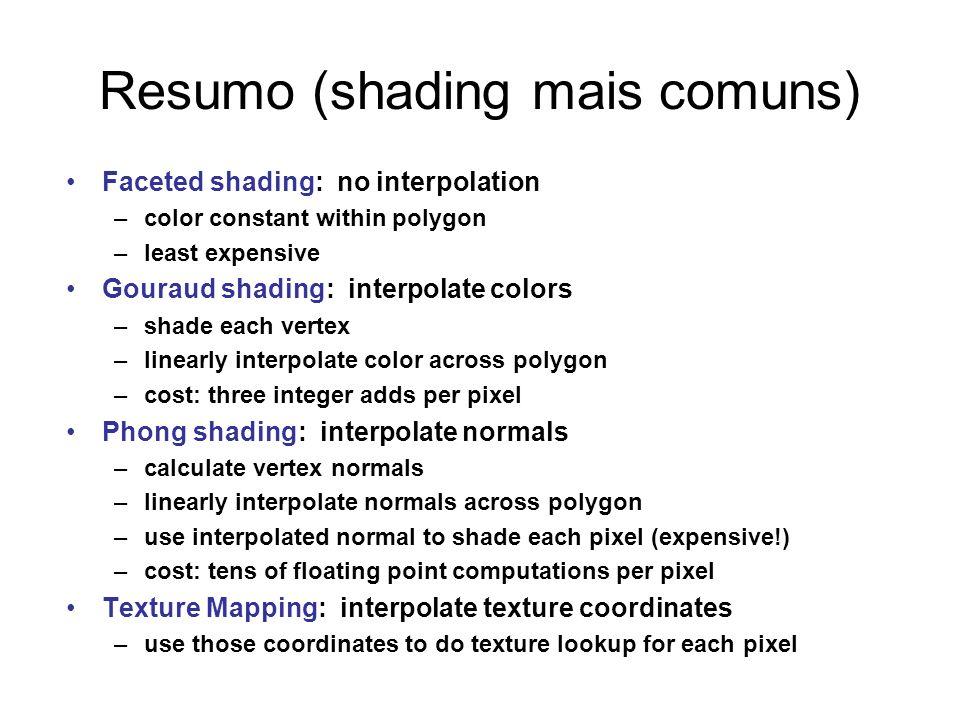 Resumo (shading mais comuns)