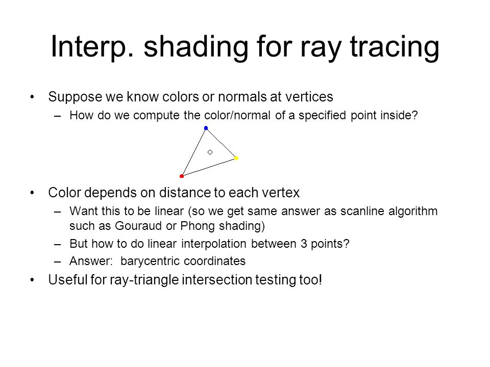 Interp. shading for ray tracing