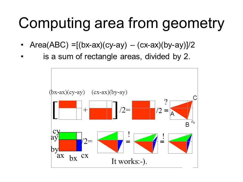 Computing area from geometry