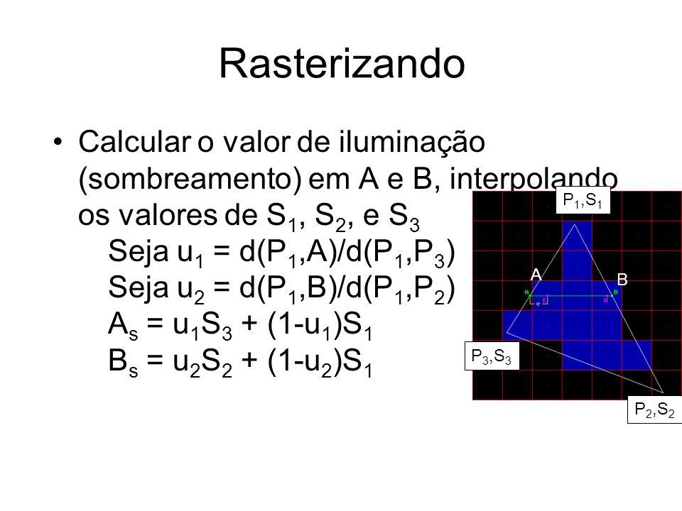 Rasterizando Calcular o valor de iluminação (sombreamento) em A e B, interpolando os valores de S1, S2, e S3.