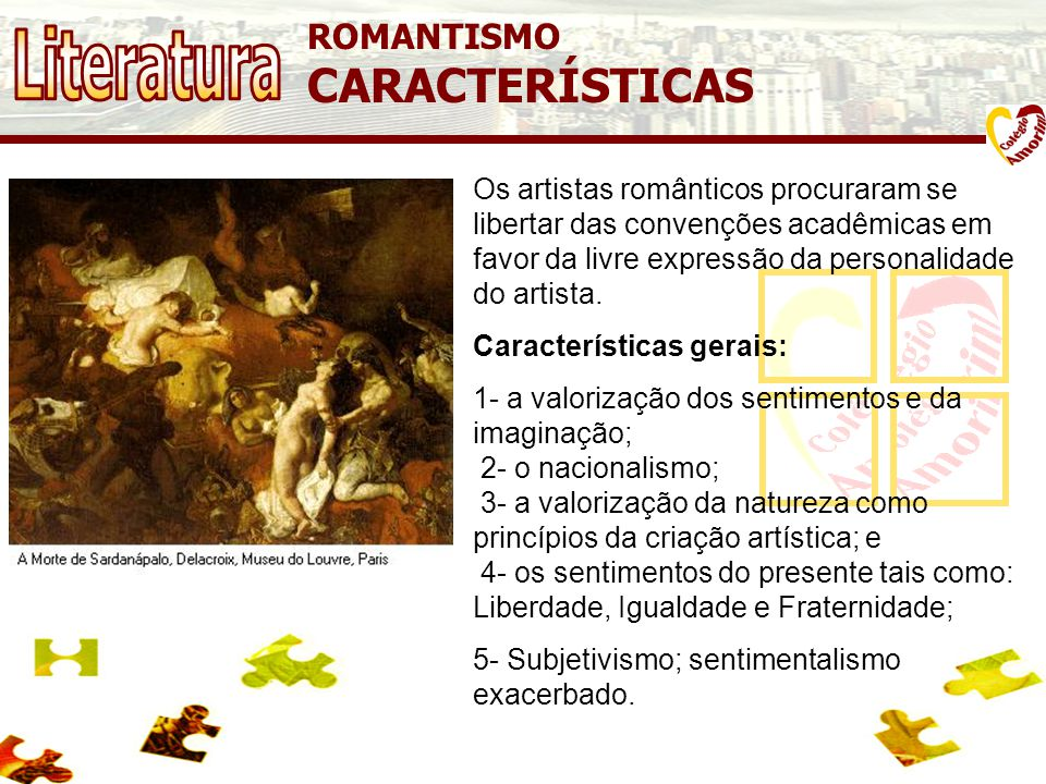 Literatura CARACTERÍSTICAS ROMANTISMO