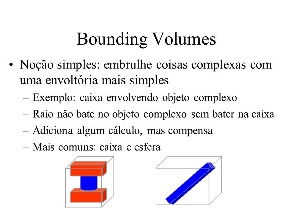 Bounding Volumes Noção simples: embrulhe coisas complexas com uma envoltória mais simples. Exemplo: caixa envolvendo objeto complexo.