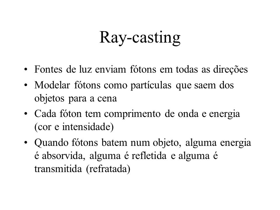 Ray-casting Fontes de luz enviam fótons em todas as direções
