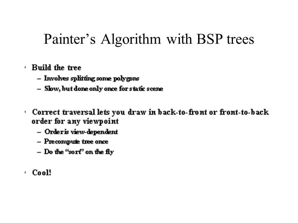 Painter's Algorithm with BSP trees