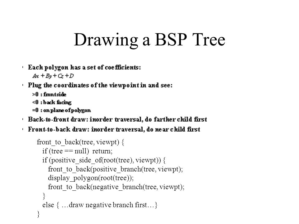 Drawing a BSP Tree front_to_back(tree, viewpt) {